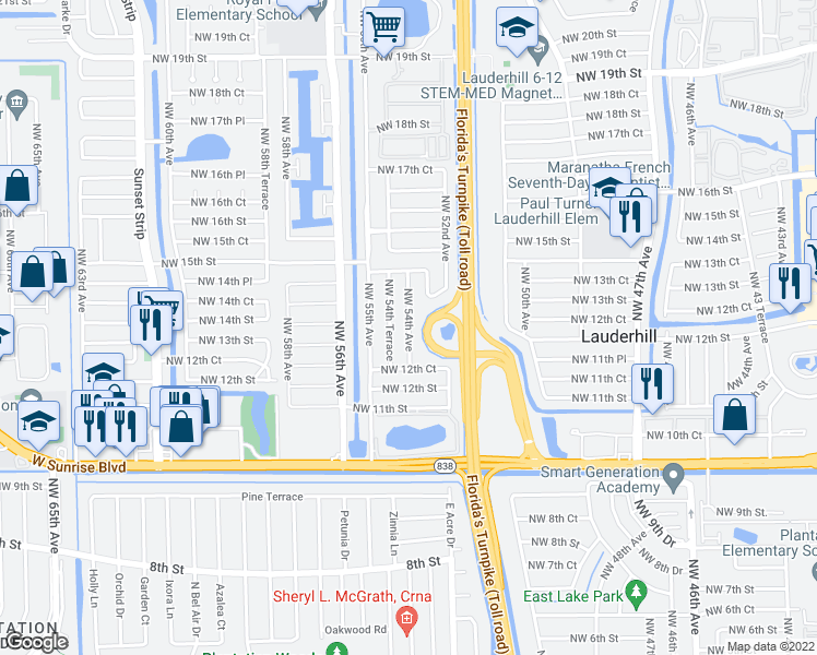 map of restaurants, bars, coffee shops, grocery stores, and more near 1340 Northwest 54th Avenue in Lauderhill