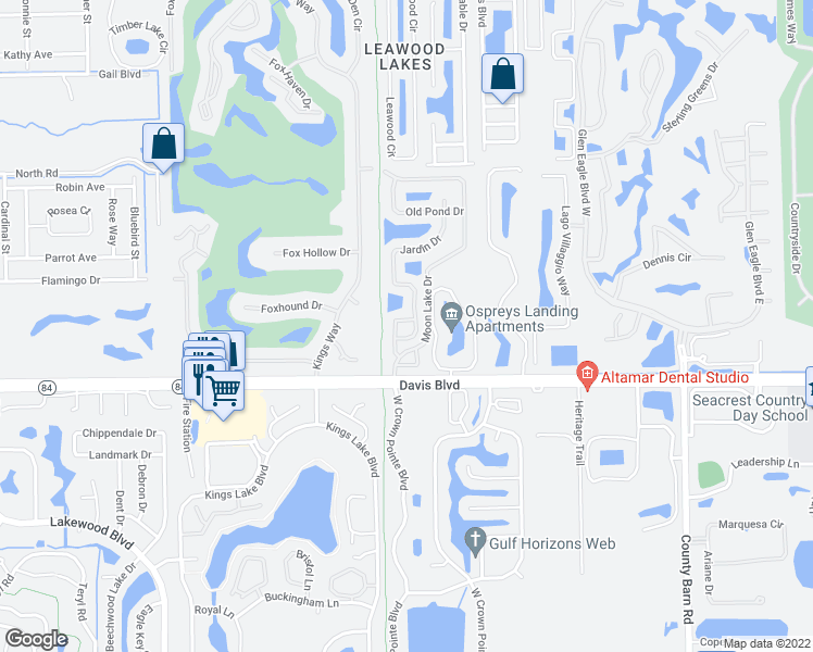 map of restaurants, bars, coffee shops, grocery stores, and more near 1262 Naples Lake Drive in Naples