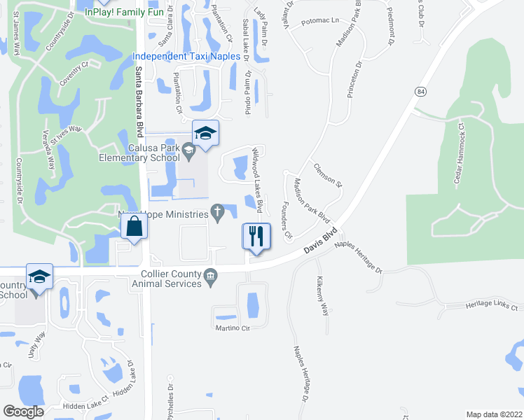 map of restaurants, bars, coffee shops, grocery stores, and more near 1388 Wildwood Lakes Boulevard in Naples