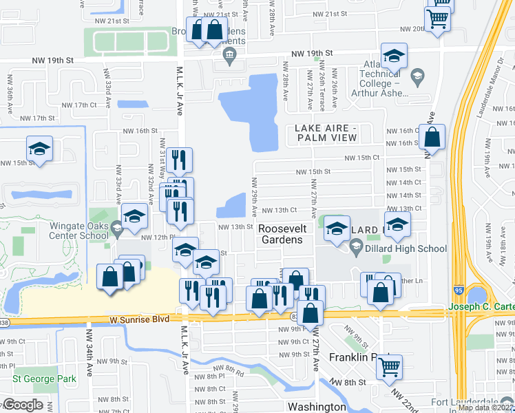 map of restaurants, bars, coffee shops, grocery stores, and more near 2891 Northwest 13th Court in Fort Lauderdale