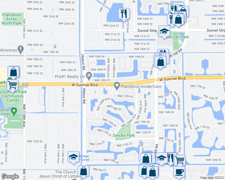 map of restaurants, bars, coffee shops, grocery stores, and more near 1601-1607 Northwest 108th Avenue in Plantation