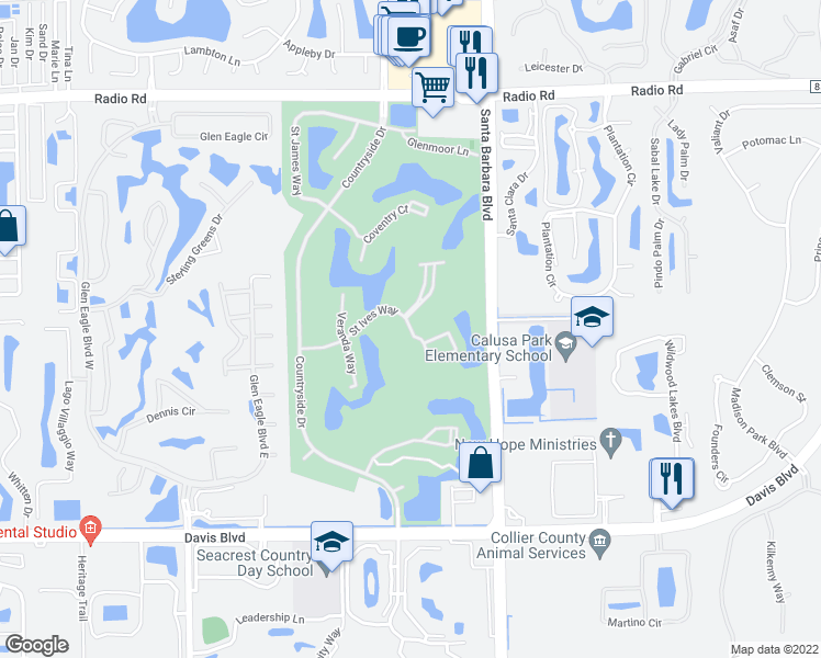 map of restaurants, bars, coffee shops, grocery stores, and more near 7380 St Ives Way in Naples