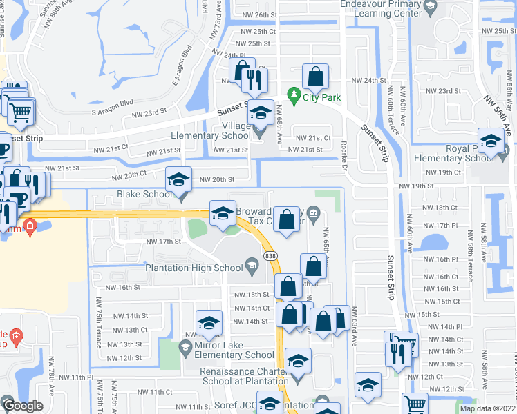 map of restaurants, bars, coffee shops, grocery stores, and more near 6901 West Sunrise Boulevard in Plantation