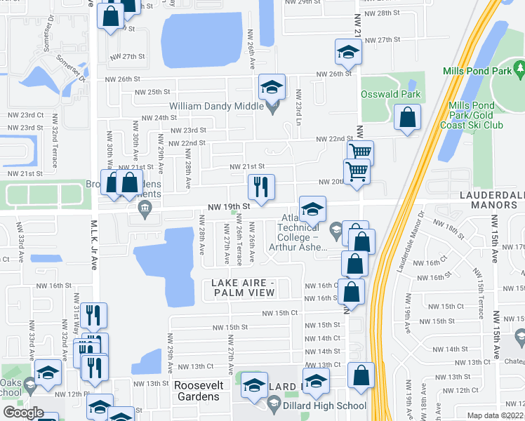 map of restaurants, bars, coffee shops, grocery stores, and more near 2550 Northwest 19th Street in Fort Lauderdale