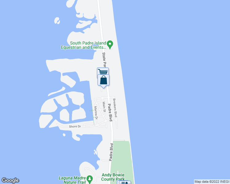 map of restaurants, bars, coffee shops, grocery stores, and more near 8500 Padre Boulevard in South Padre Island