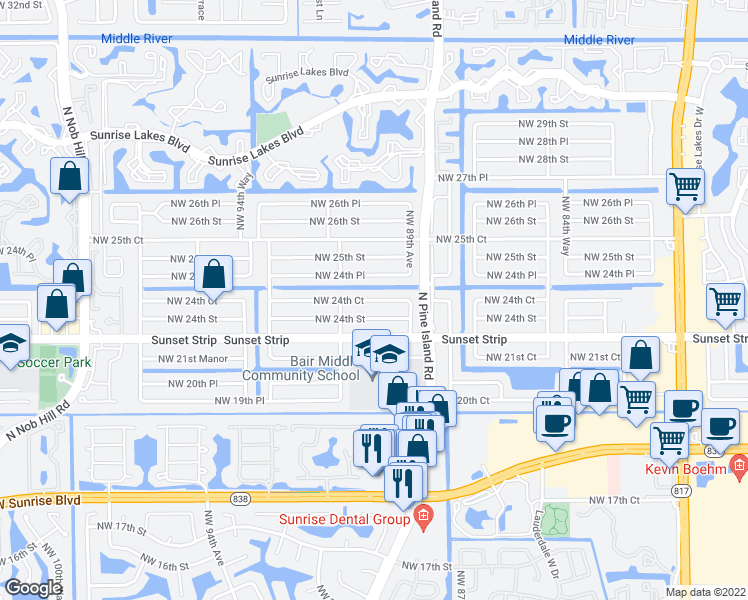map of restaurants, bars, coffee shops, grocery stores, and more near in Plantation