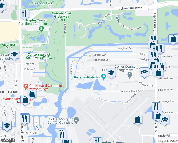 map of restaurants, bars, coffee shops, grocery stores, and more near 2000 River Reach Drive in Naples