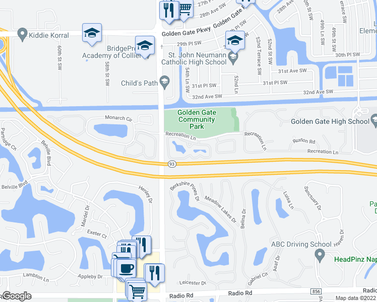map of restaurants, bars, coffee shops, grocery stores, and more near 1600 Wellesley Circle in Naples