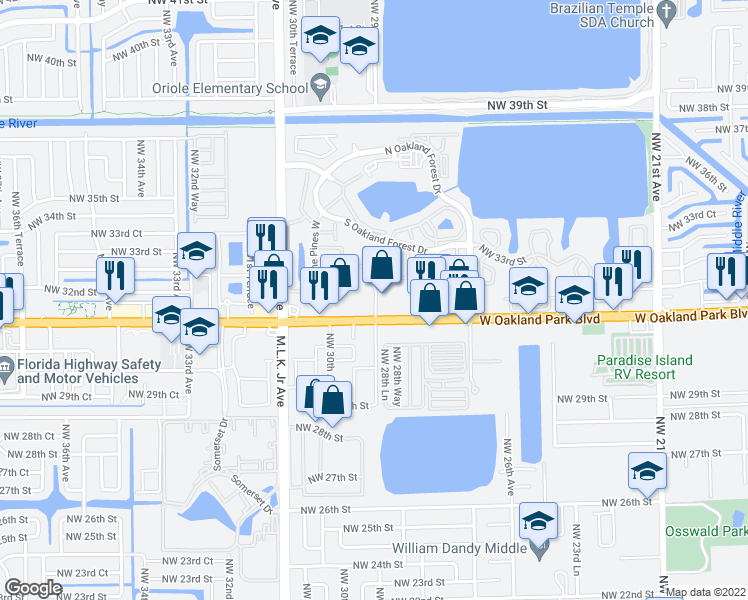 map of restaurants, bars, coffee shops, grocery stores, and more near Northwest 30th Avenue in Oakland Park