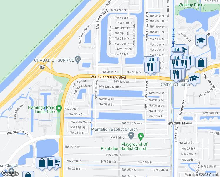 Map Of Sunrise Florida.11920 Northwest 32nd Manor Sunrise Fl Walk Score