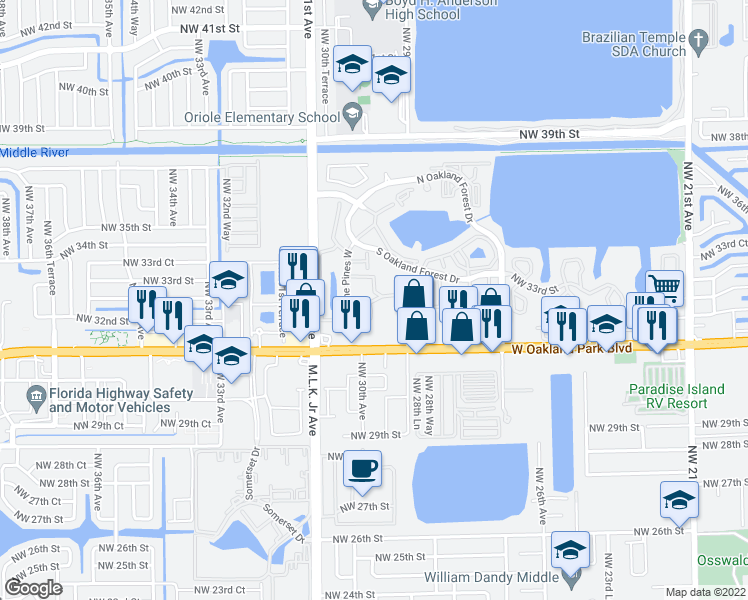 map of restaurants, bars, coffee shops, grocery stores, and more near 3129 Oakland Shores Drive in Oakland Park