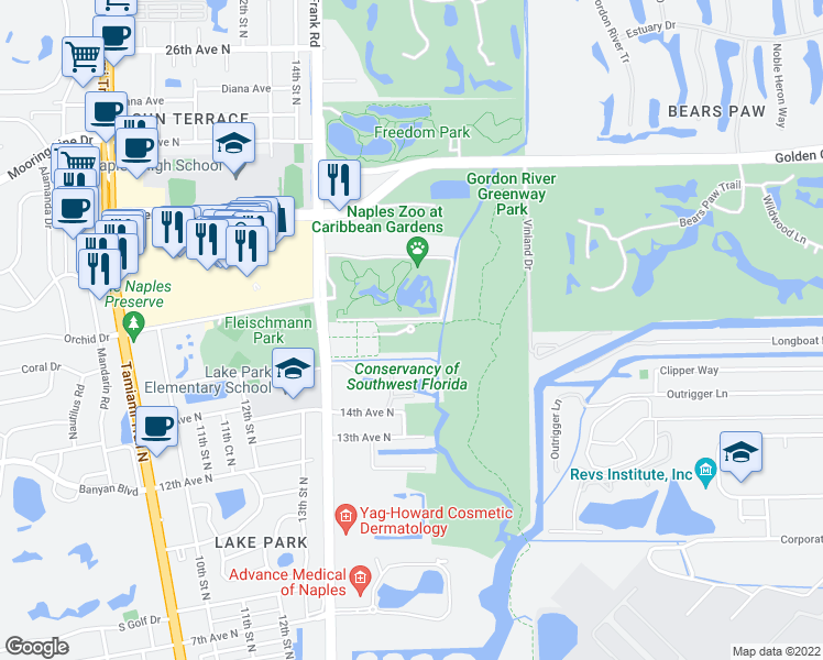 map of restaurants, bars, coffee shops, grocery stores, and more near Golden Gate Parkway in Naples