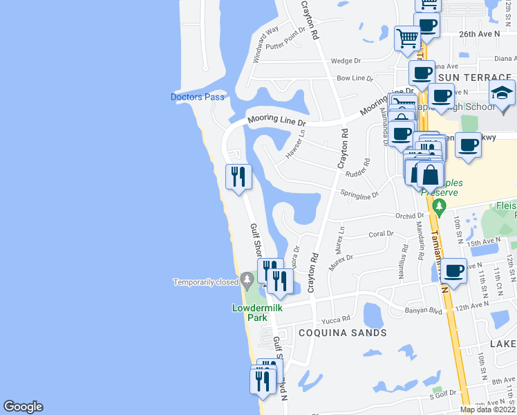 map of restaurants, bars, coffee shops, grocery stores, and more near 1820 Gulf Shore Boulevard North in Naples