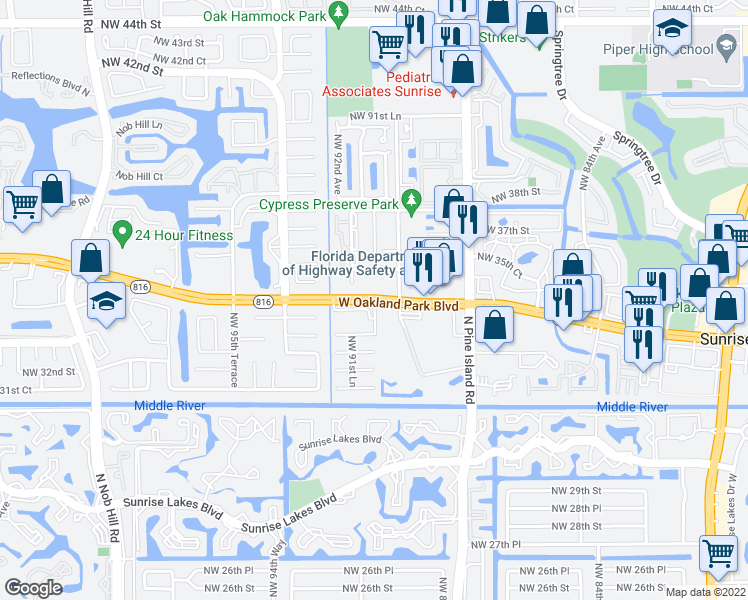 map of restaurants, bars, coffee shops, grocery stores, and more near 9001 West Oakland Park Boulevard in Su
