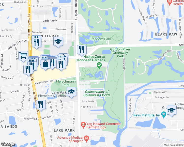 map of restaurants, bars, coffee shops, grocery stores, and more near 1590 Goodlette-Frank Road in Naples