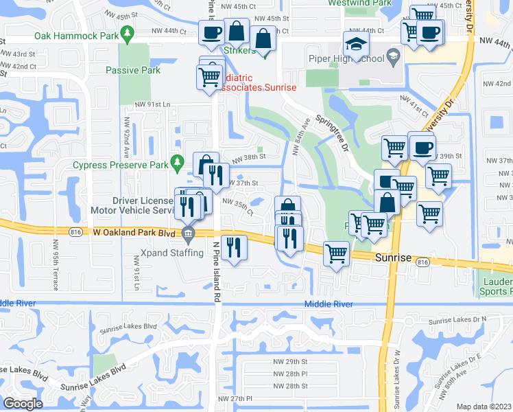 Map Of Sunrise Florida.3500 Northwest 85th Avenue Sunrise Fl Walk Score