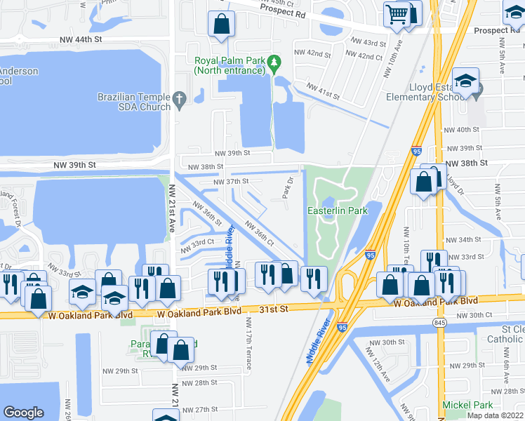 map of restaurants, bars, coffee shops, grocery stores, and more near 3450 Northwest 17th Terrace in Oakland Park