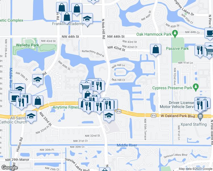 Map Of Sunrise Florida.N Nob Hill Rd Winding Lake Rd Sunrise Fl Walk Score