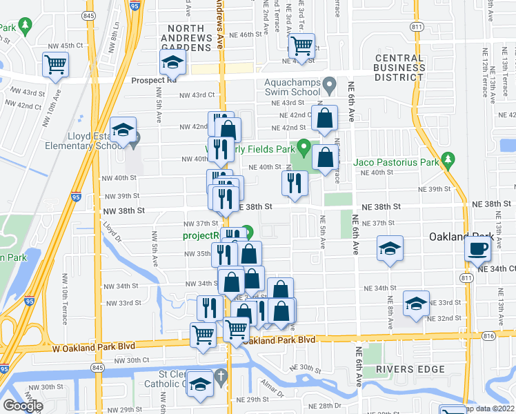 map of restaurants, bars, coffee shops, grocery stores, and more near 150 Northeast 38th Street in Oakland Park
