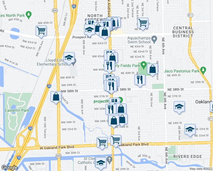 map of restaurants, bars, coffee shops, grocery stores, and more near 60 Northwest 39th Street in Oakland Park