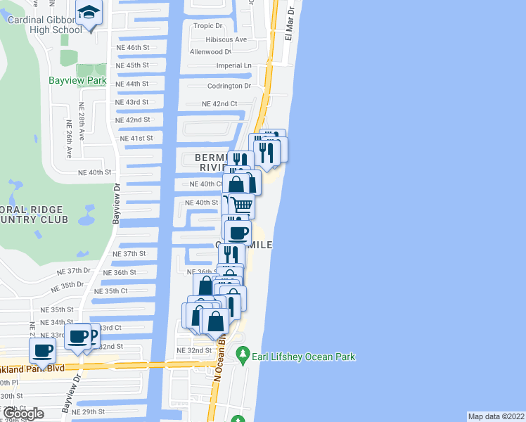 map of restaurants, bars, coffee shops, grocery stores, and more near 3900 Galt Ocean Drive in Fort Lauderdale