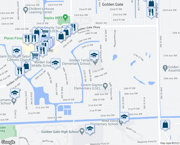 map of restaurants, bars, coffee shops, grocery stores, and more near 2780 46th Street Southwest in Naples