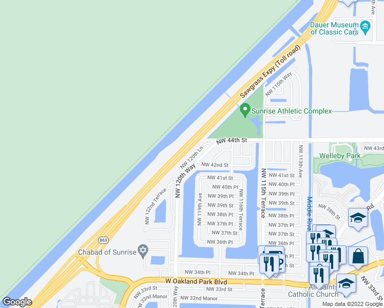 map of restaurants, bars, coffee shops, grocery stores, and more near Sawgrass Expressway in Sunrise