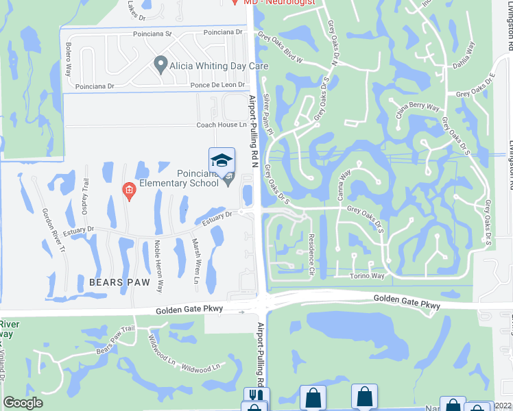 map of restaurants, bars, coffee shops, grocery stores, and more near 1359-1567 Estuary Drive in Naples