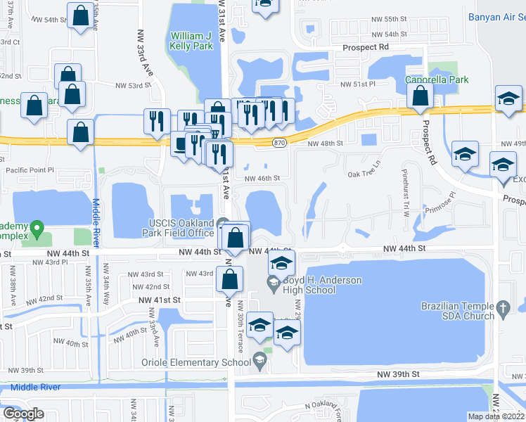 map of restaurants, bars, coffee shops, grocery stores, and more near 210 Lake Pointe Drive in Oakland Park