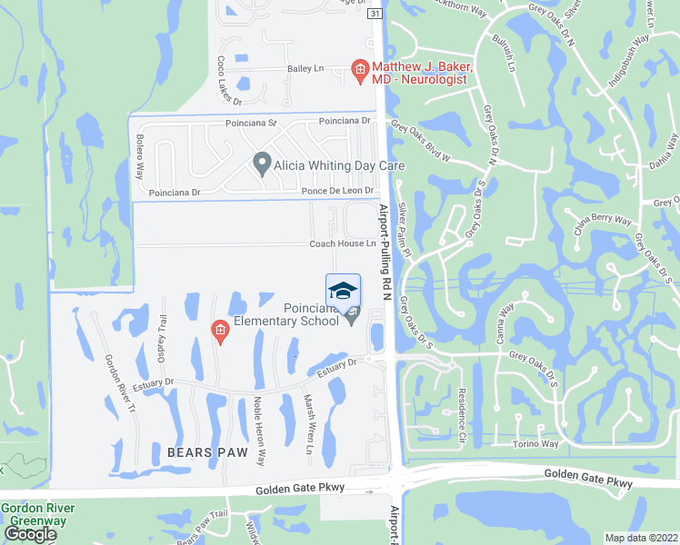 map of restaurants, bars, coffee shops, grocery stores, and more near 2847 Coach House Way in Naples