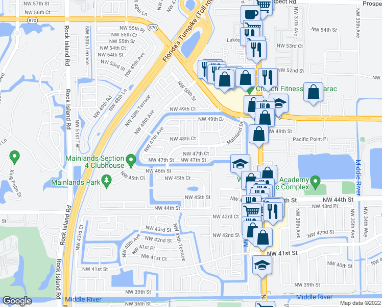 map of restaurants, bars, coffee shops, grocery stores, and more near Northwest 47th Court in Fort Lauderdale