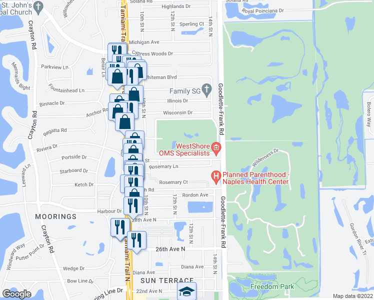 map of restaurants, bars, coffee shops, grocery stores, and more near 45 High Point Circle South in Naples