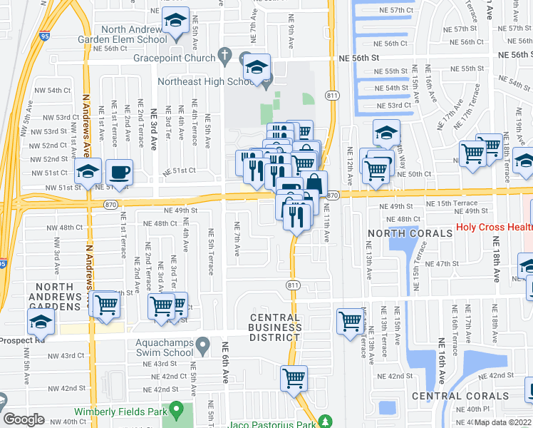 map of restaurants, bars, coffee shops, grocery stores, and more near 850 East Commercial Boulevard in Oakland Park