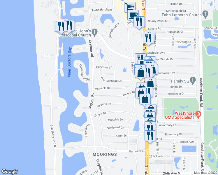 map of restaurants, bars, coffee shops, grocery stores, and more near 626 Binnacle Drive in Naples