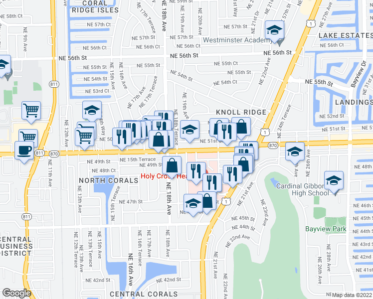 map of restaurants, bars, coffee shops, grocery stores, and more near 4830-4998 Northeast 19th Avenue in Fort Lauderdale