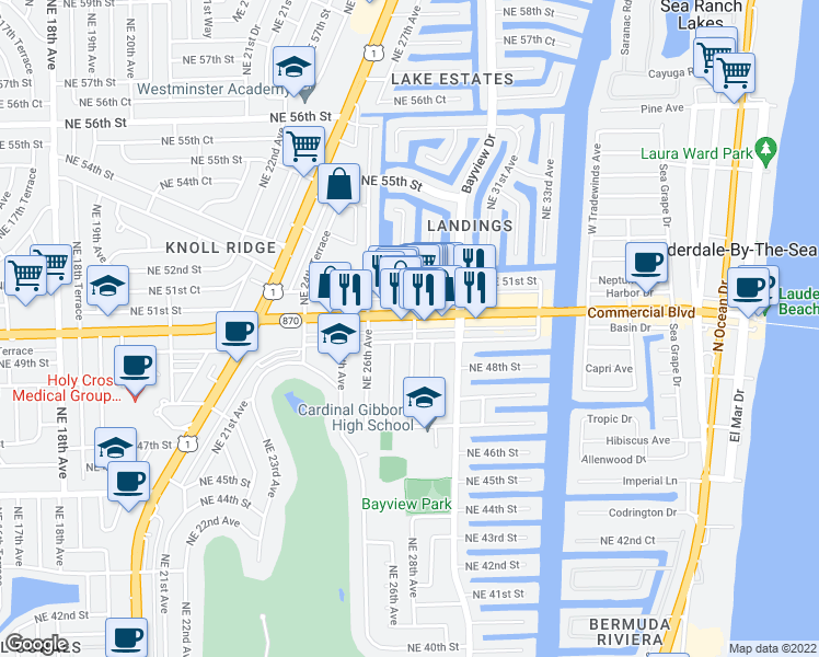 map of restaurants, bars, coffee shops, grocery stores, and more near 3500 North Ocean Boulevard in Fort Lauderdale