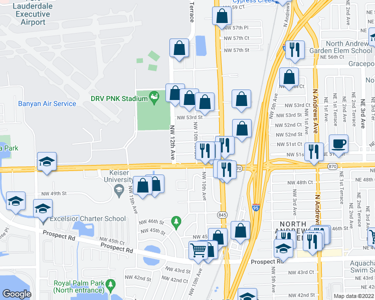 map of restaurants, bars, coffee shops, grocery stores, and more near 1100 NW 51st Ct in Fort Lauderdale