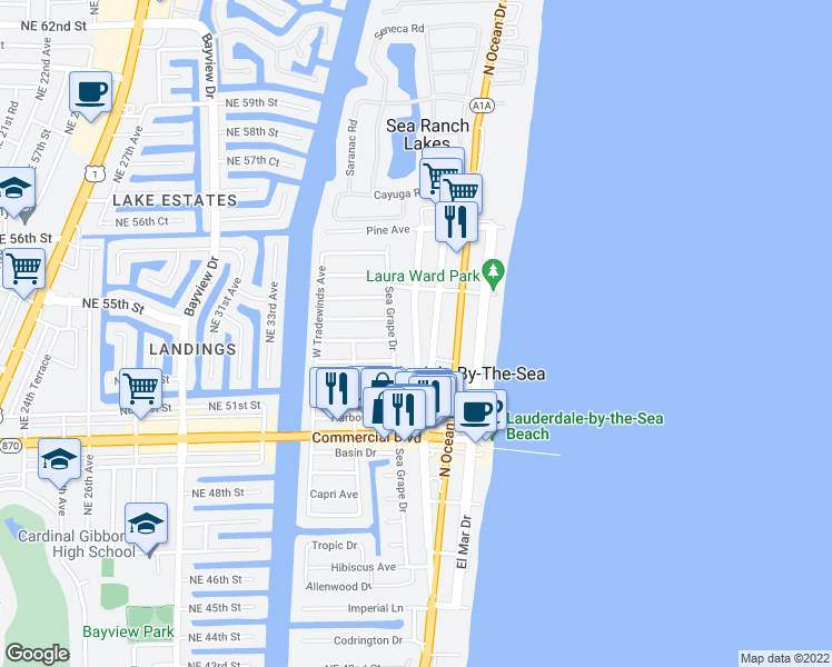 map of restaurants, bars, coffee shops, grocery stores, and more near Poinciana Street in Lauderdale-by-the-Sea
