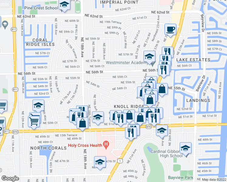 map of restaurants, bars, coffee shops, grocery stores, and more near 2051 Northeast 54th Street in Fort Lauderdale
