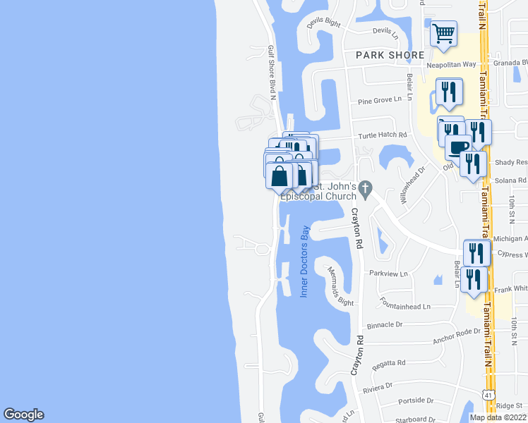 map of restaurants, bars, coffee shops, grocery stores, and more near 4031 Gulf Shore Boulevard North in Naples
