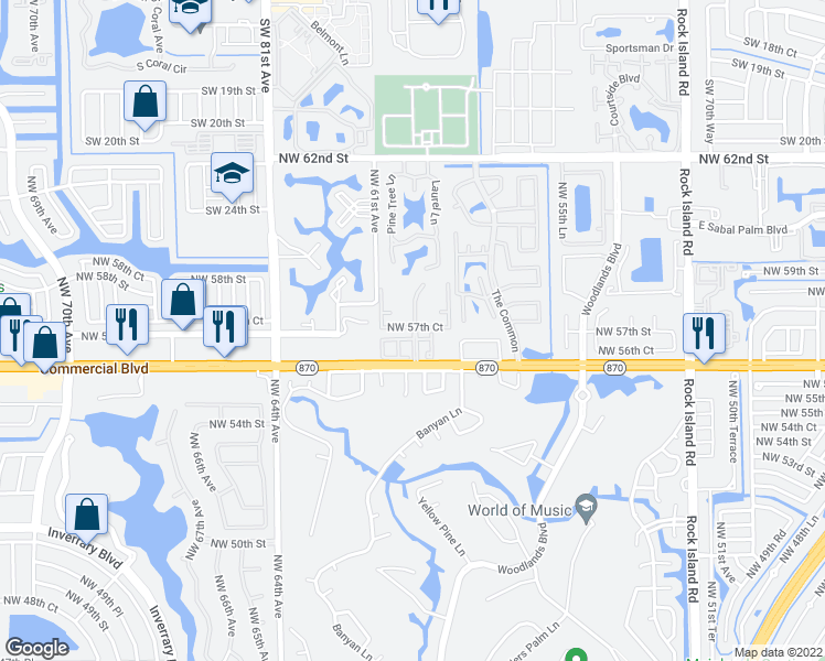 map of restaurants, bars, coffee shops, grocery stores, and more near 5600-5698 Northwest 59th Avenue in Tamarac