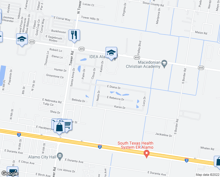 map of restaurants, bars, coffee shops, grocery stores, and more near 325 Diana Drive in Alamo