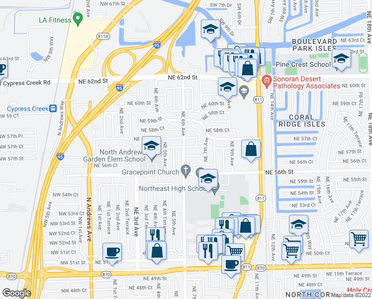 map of restaurants, bars, coffee shops, grocery stores, and more near 600 Northeast 57th Court in Fort Lauderdale