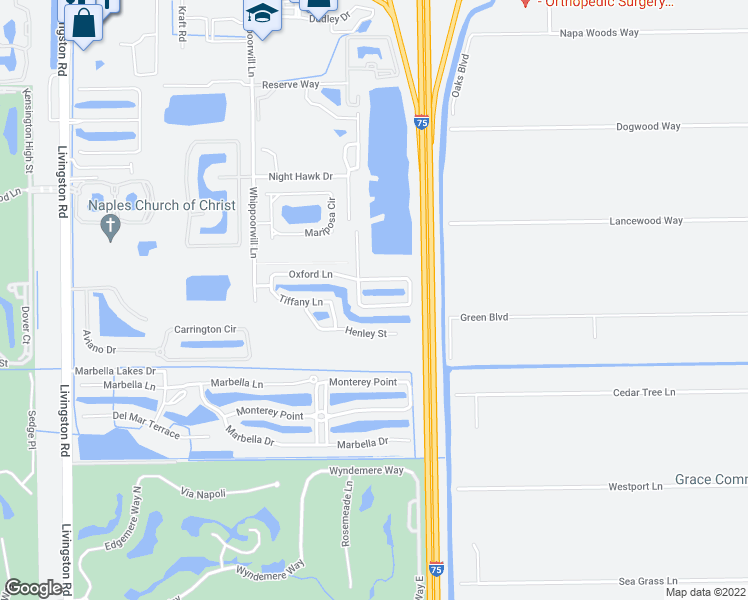 map of restaurants, bars, coffee shops, grocery stores, and more near 985 Hampton Circle in Naples