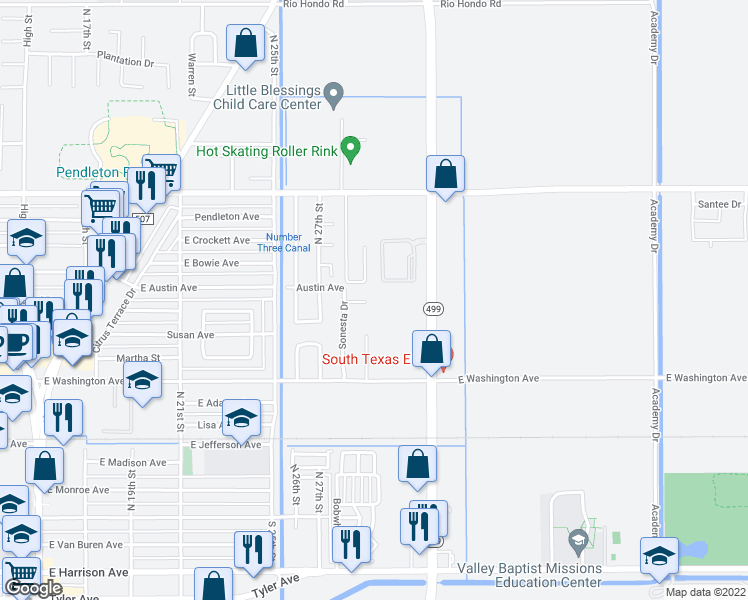 map of restaurants, bars, coffee shops, grocery stores, and more near 2526 Chuparosa Court in Harlingen