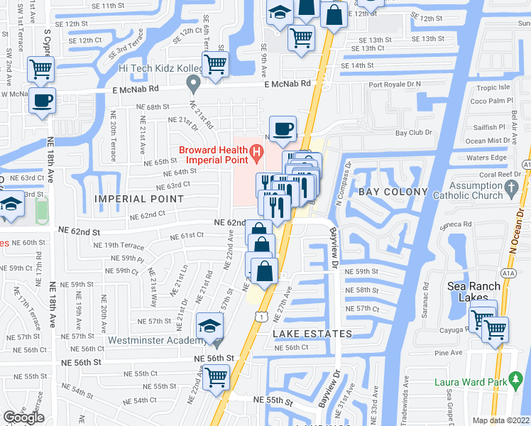 map of restaurants, bars, coffee shops, grocery stores, and more near 6200 Northeast 22nd Way in Fort Lauderdale