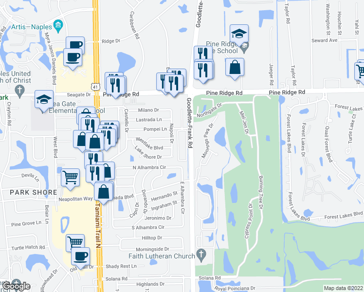 map of restaurants, bars, coffee shops, grocery stores, and more near 1400 Pompei Lane in Naples
