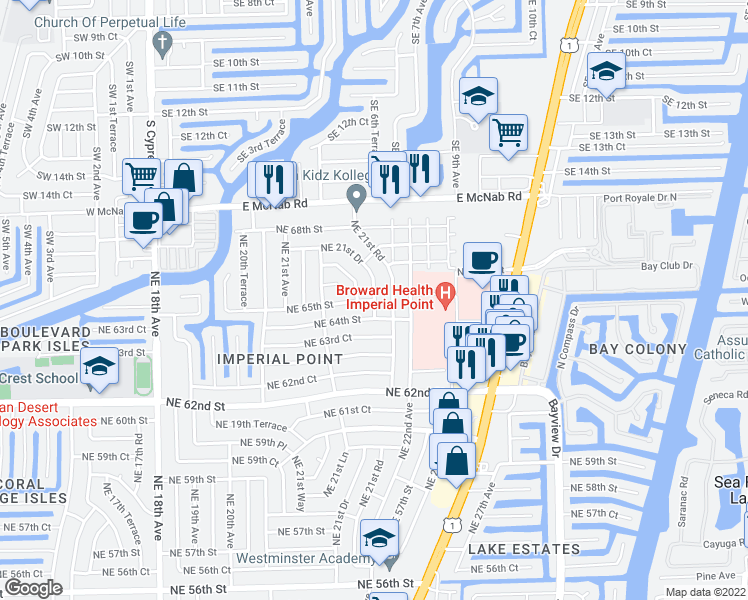 map of restaurants, bars, coffee shops, grocery stores, and more near 2402 Northeast 65th Street in Fort Lauderdale