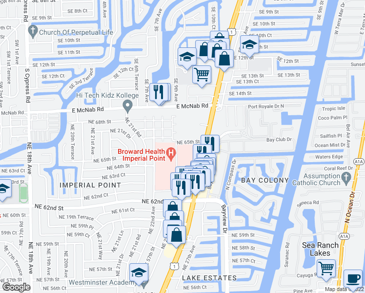 map of restaurants, bars, coffee shops, grocery stores, and more near 2400 Northeast 65th Street in Fort Lauderdale