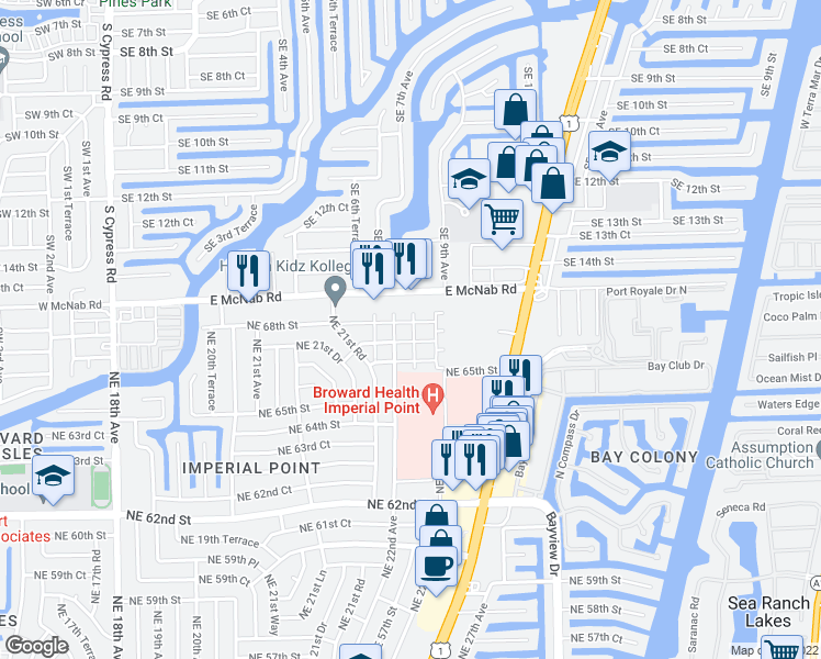 map of restaurants, bars, coffee shops, grocery stores, and more near 2220 Northeast 68th Street in Fort Lauderdale